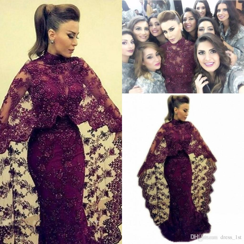 Yousef Aljasmi Fashion Muslim Evening Dress High Neck Mermaid Full Length Sparkly Beaded Lace Abaya Formal Gowns with Cape