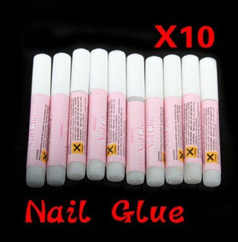 10pcs Mini Beauty Nail Art Colle Faux Décore Conseils acrylique Colle ongles Accessoires 2 g de haute qualité à ongles colle FM88