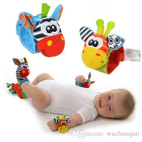 New Lamaze Style Sozzy baby toys rattle Wrist donkey Zebra Wrist Rattle and Socks toys (1set=2 pcs wrist+2 pcs socks)