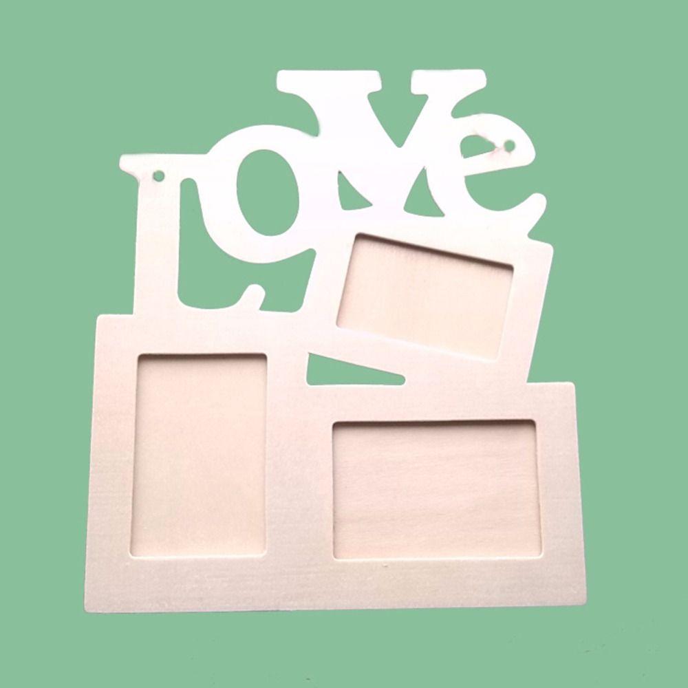 Amor hueco en Tri-capas de madera marco en blanco DIY Pintura de imagen Photo Frame Inicio la decoración del arte