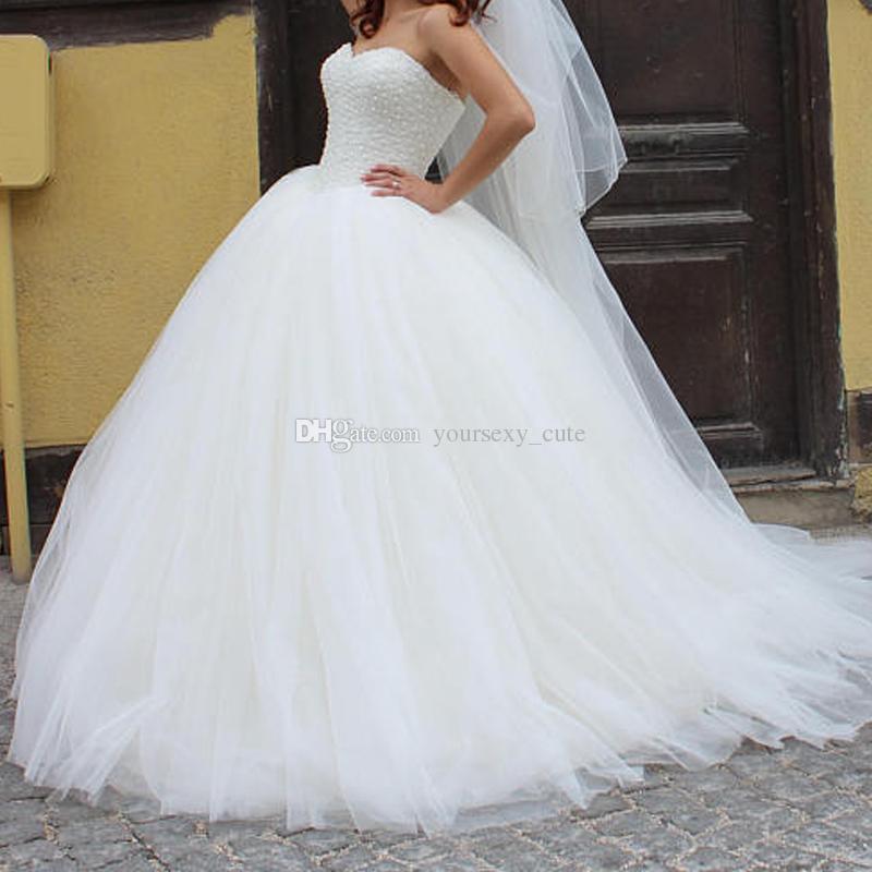 Ball Gown Wedding Dresses Sweetheart Beading Tulle Floor Length Corset Plus Size Wedding Gowns Elegant Bridal Dresses