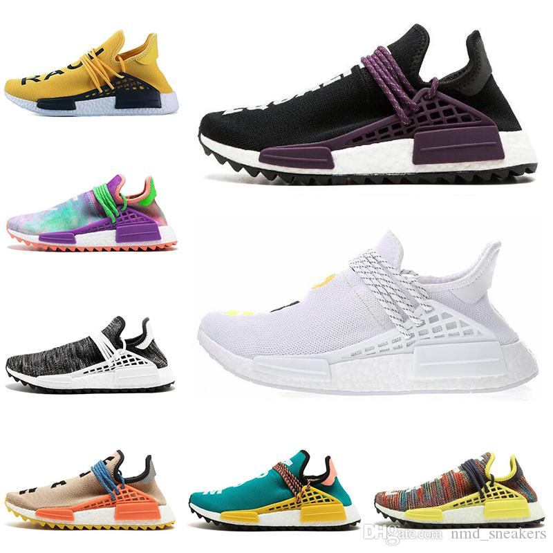 Ucuz İnsan Yarış parkuru Koşu Ayakkabıları Erkek Kadın Pharrell Williams HU Koşucu Siyah Tuval Tebeşir Mercan Çekirdek siyah eğitmenler spor sneaker