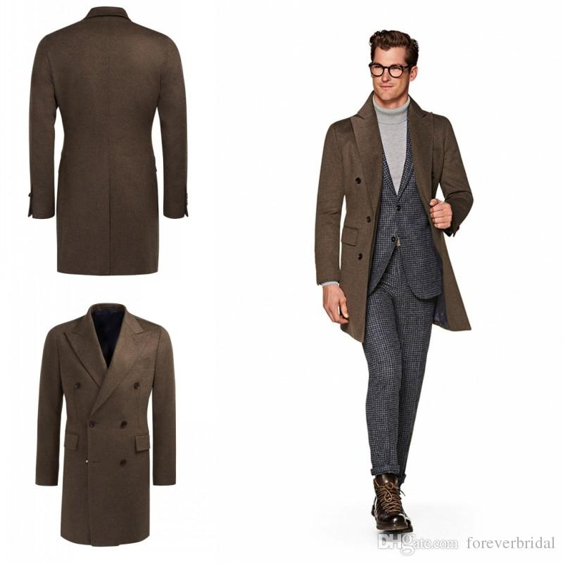 best selling hot new products new items Popular Winter Autumn Hottest Men Fitted Brown Trench Coats Double Breasted  Long Design Peaked Lapel England Style Overcoats For Sale Formal Suits For  ...