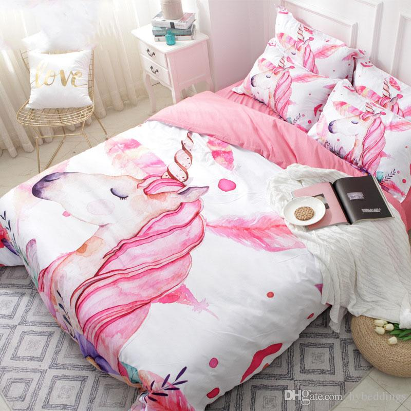 Unicorn Floral Cartoon Bedding Set Pink Girl Cute Duvet Cover Sets 3PCS Twin Full Queen King Size Quilt Cover Set Girls Beddings