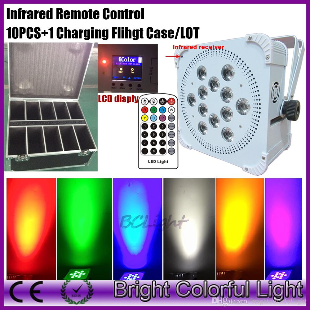 Wedding Uplighting Wireless DMX Battery Powered 6in1 RGBWA UV 12x18w LED Par Event Lighting with IR Control 10pcs with road case
