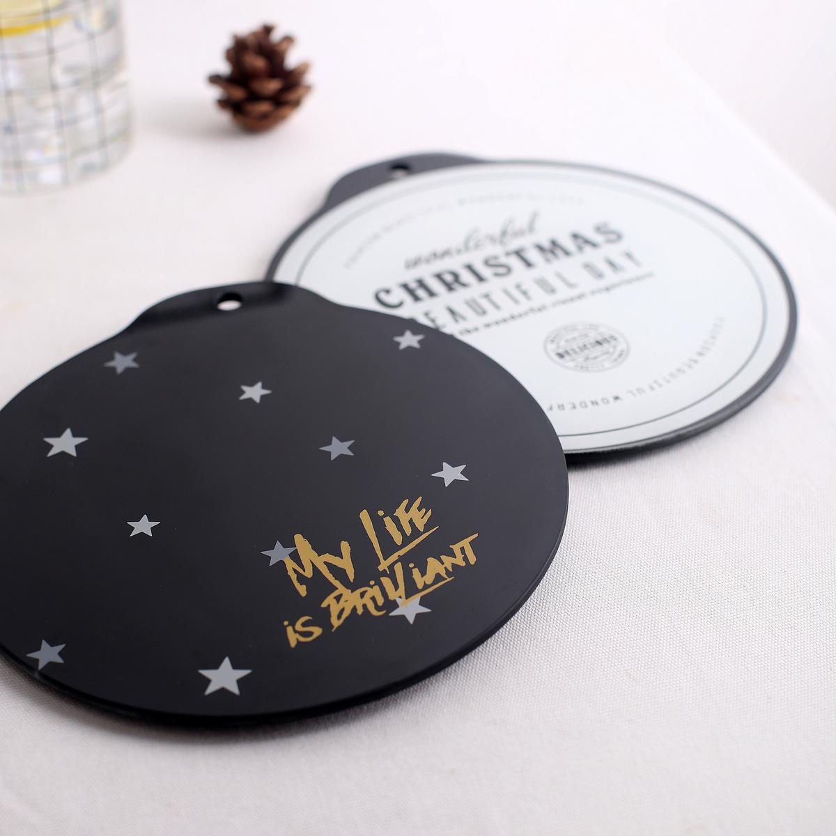 Luxury Black White Letter Star Tempered Glass Drink Coaster Coffee Cup Mat Tea Pad - Round Dining Placemats Home Decor