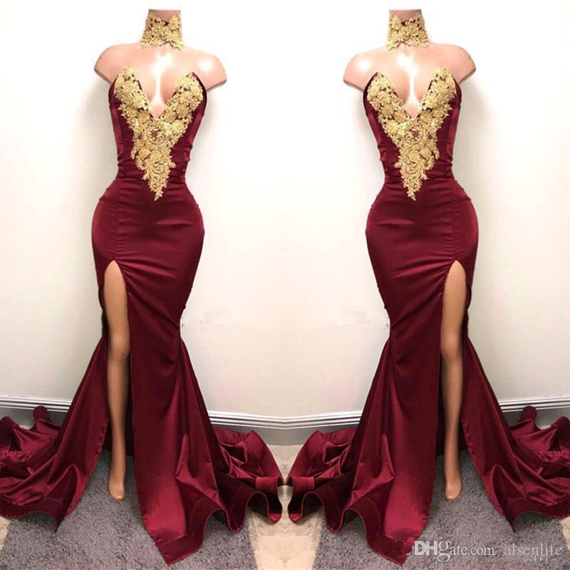 2K18 Vestidos de baile sexy de Borgoña con apliques de encaje dorado Sirena Formal de Split frontal para 2018 Vestidos de noche largos de fiesta