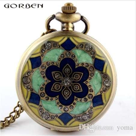 Зеленый Нефрит Кристалл Кварца Большой Карманные Часы Ожерелье Кулон Цепь Мужской Подарок P52