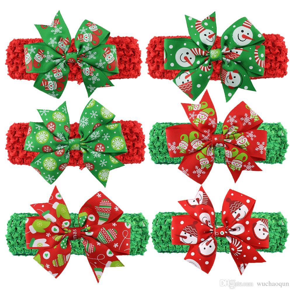 Weihnachten Babys Stirnband Nette Weihnachts Muster Haarbänder geknotete Bogen Stirnband Art und Weise bunte Weihnachtskopfschmuck-Haar-Band BY0510