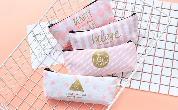Attractive design student pen bag school pencil case delicate canvas pencil bag 4 color free shipping