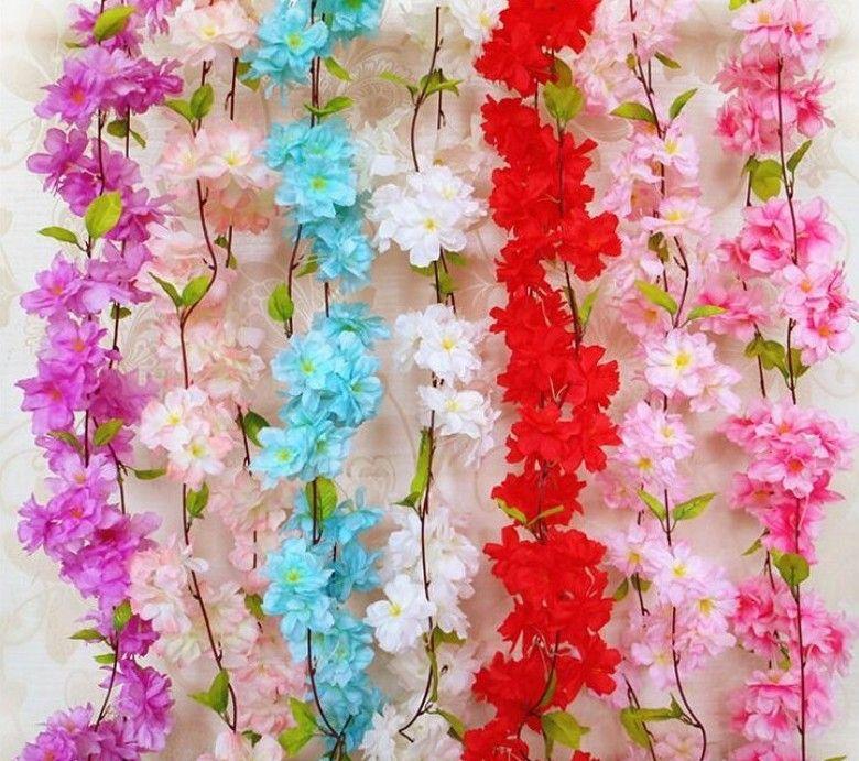 Cherry Artificial Flowers Cherry Blossom Sakura cane vine artificial para bodas decotations montado en la pared cadena de flores