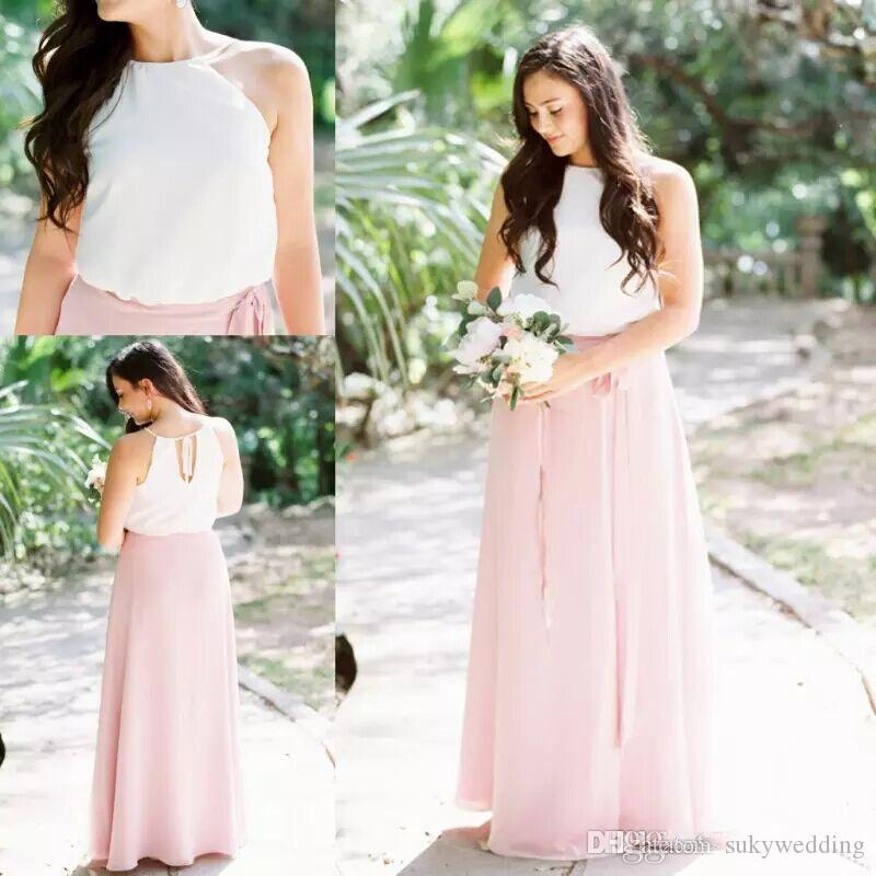 Cheap Chiffon Bridesmaid Dresses Pink A Line Summer Country Boho Maid of Honor Gowns Halter Neck Chiffon Wedding Guest Dresses Long