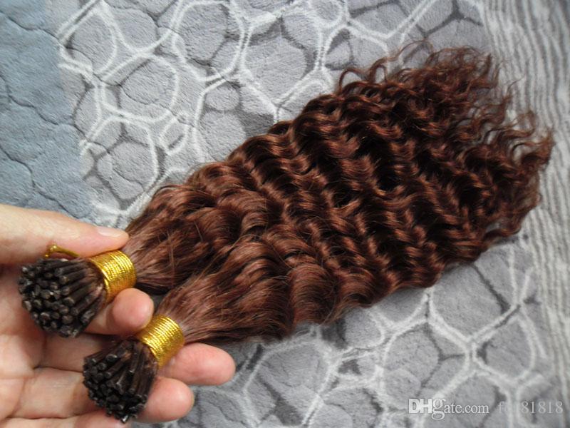 """33 # verworrenes lockiges Keratin-Haar-Verlängerungs-100g I Nagel-Spitze vor gebundenes Keratin-Verschmelzungs-Haar 16 """"18"""" 20 """"22"""" 24 """"100% Remy menschliche reale Haar-Verlängerungen"""