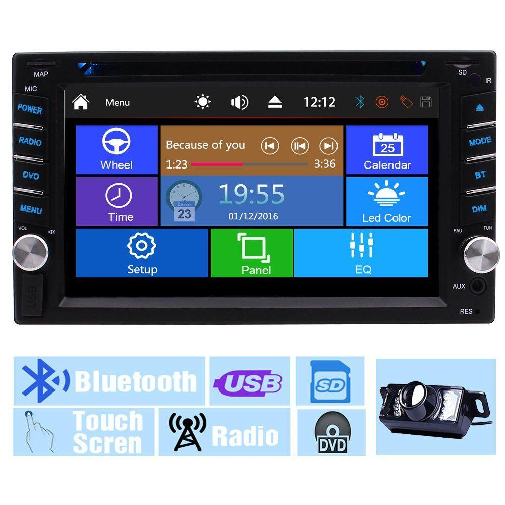 Yedek Kamera + Çoklu Dokunmatik Ekran Ses Autoradio Monitör 2Din Dash Video CD VCD Araba DVD Oynatıcı USB SD Radyo Alıcısı Bluetooth Araç Stereo