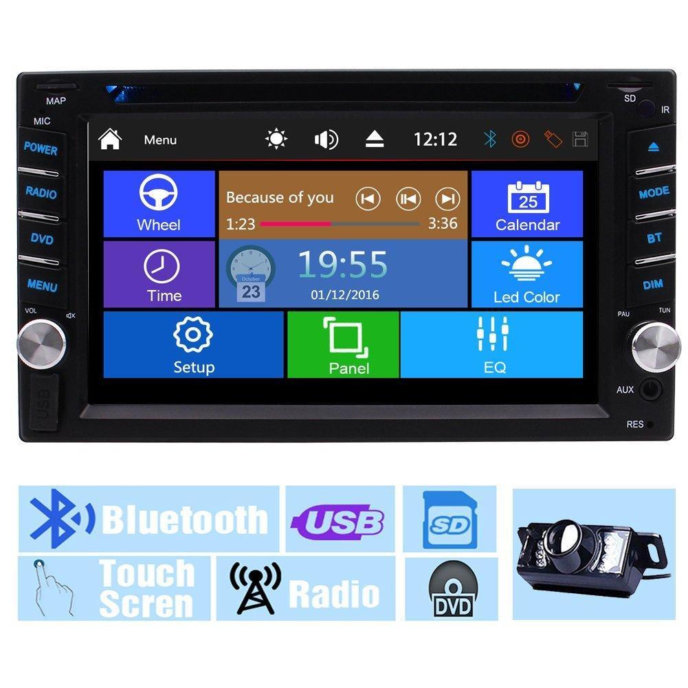 백업 카메라 + 멀티 터치 스크린 오디오 자동 라디오 모니터 2Din 대시 비디오 CD VCD 차량용 DVD 플레이어 USB SD 라디오 수신기 블루투스 차량용 스테레오