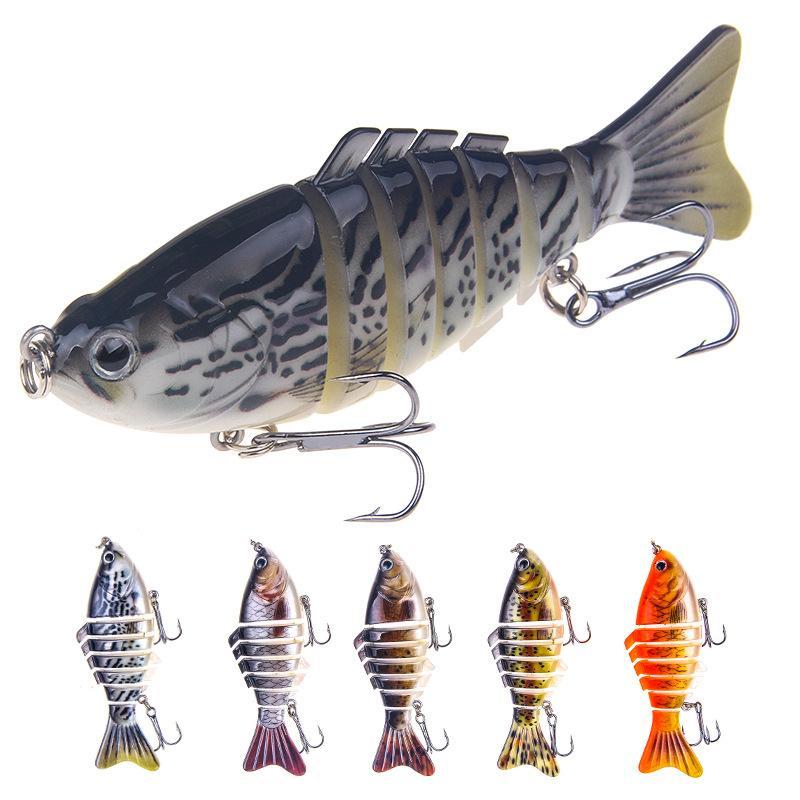 Yeni Çok Eklemli Canlı yemler Kanca 10 cm 16g 7 Bölümleri Yapay Gerçekçi Balık Musky Bas Balıkçılık cazibesi