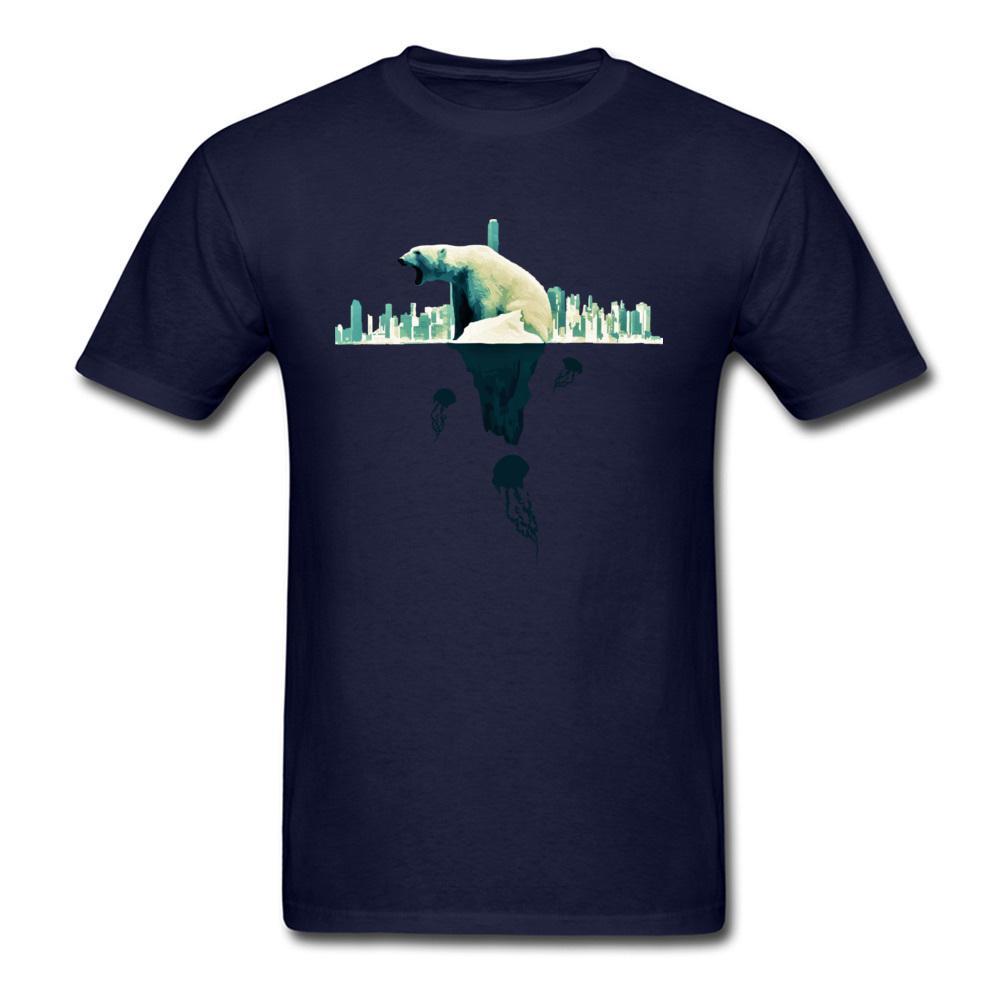 Ревущий Белый медведь на кончике айсберга меняется мир мужчины темно-синий хлопок топ футболка с коротким рукавом прохладный тройники