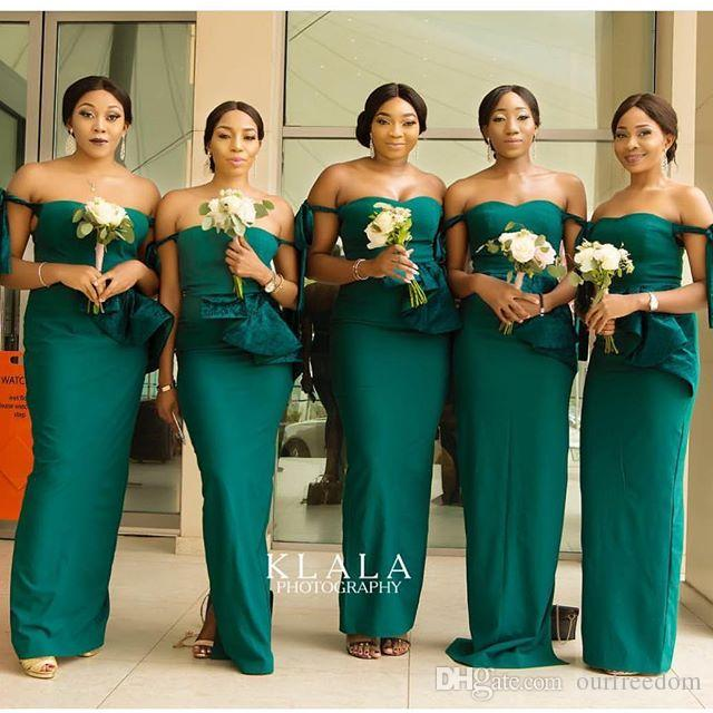 2019 Emerald Off The Shoulder Bridesmaid Dresses Mermaid Elastic Silk Like Satin Mermaid South Africa Style Maid Of Honor Wedding Guest Gown