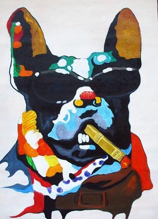 Lustiger Hund mit Zigarrensonnenbrille Handgemalter HD-Druck abstrakt Tierkunst Ölgemälde Wandkunstausgangsdekor-Qualitäts-dicke Leinwand a142