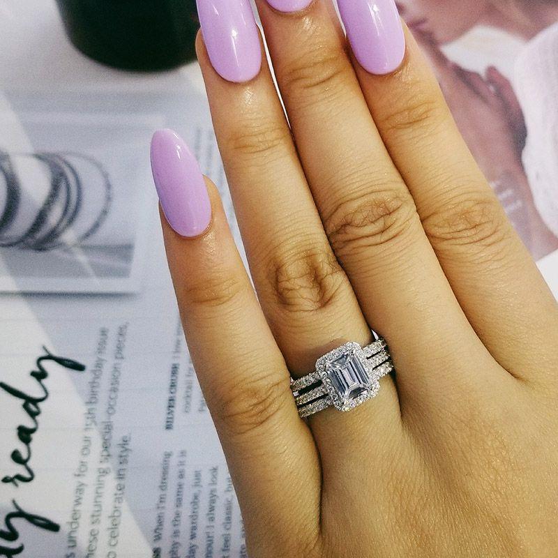 925 anillos de plata de la boda fijaron 3 en 1 anillo de la venda para la joyería nupcial de la manera de la boda del dedo moison R1997x