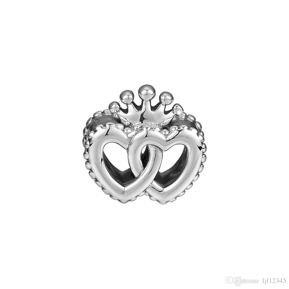 Pandulaso Interlocked Crown Hearts Beads For Jewelry Making Fit Chairms 925 Silver Bracelet & Bangle Fashion Jewelry Autumn Collection
