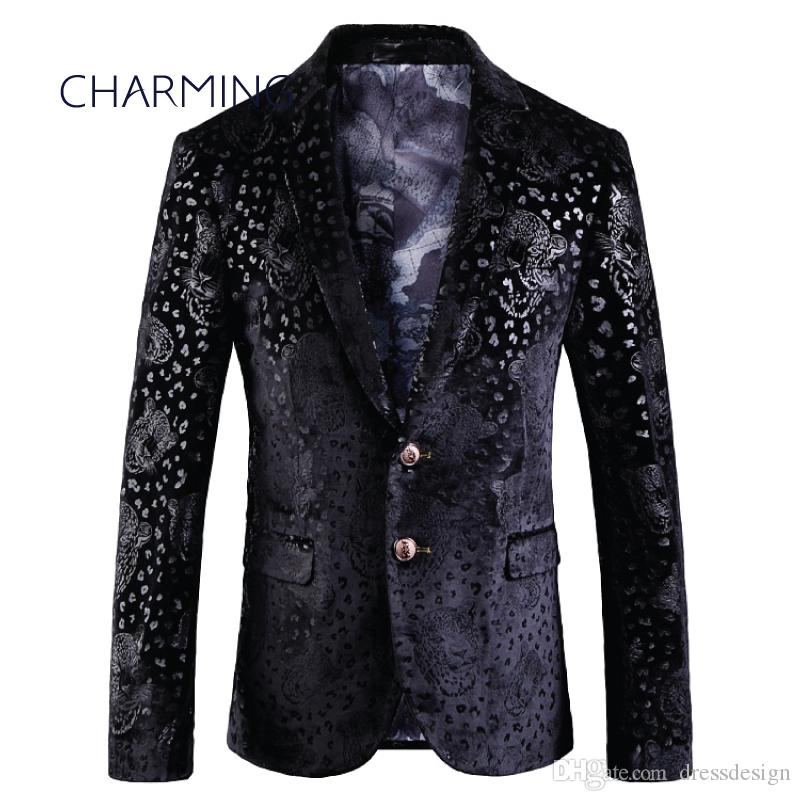 Mens suiting, gentleman suit jacket, luxurious velvet leopard embossed fabric, for singer performance, fashion party ball wedding dress