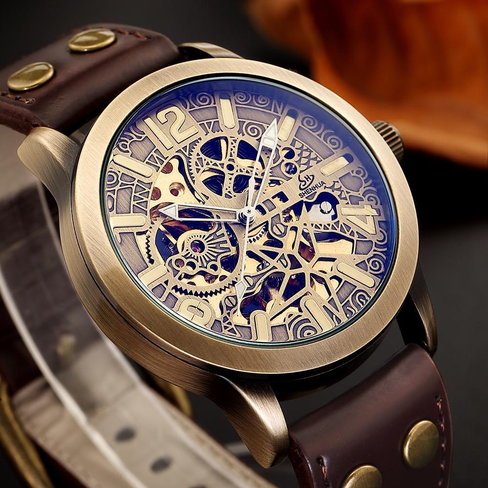 2018 Fashion Vintage Watch Men Mechanical Watch Retro Bronze Automatic Mechanical Skeleton Reloj Hombre Shenhua