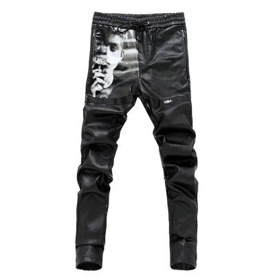 Stylish Black PU leather pants men Drawstring Printed Big pockets Zippers