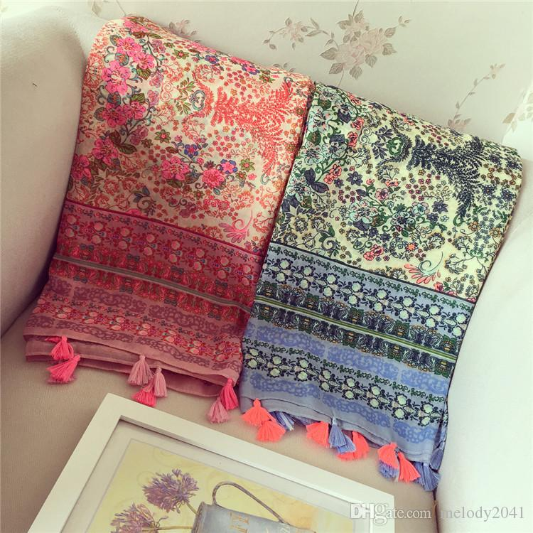 Fashion Pastoral Style Small Flower Printing Scarves Vintage Sandy Beach Shawl 4 Colors With Macrame Cotton Blend Tassels Pashmina