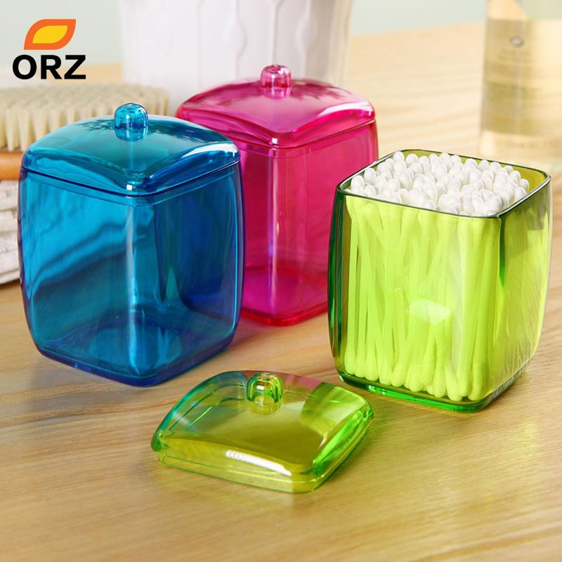 ORZ New Design Colorful Cotton Swab Box Q-tip Storage Holder Cosmetic Makeup tool Women Storage Box Jewelry