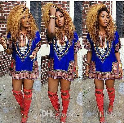 2018 5Color Summer Dress Sexy Mini African Tranditional Print Dashiki Dress Ladies Dresses Folk Art African Women Dress Clothing
