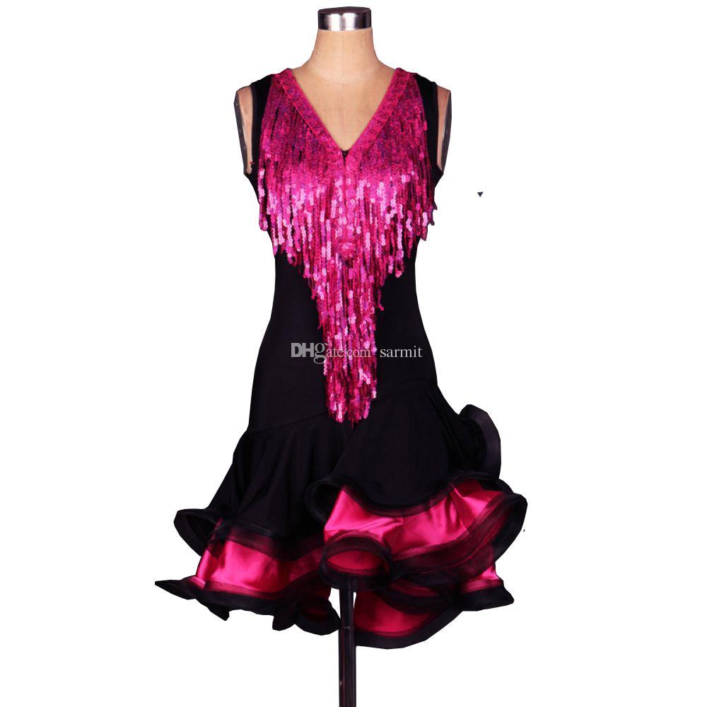 Sequins Latin Samba Dans Elbise Kadın Kız Balo Elbise Salsa Dans Yarışması Elbiseler Tango Balo Salonu D0528 Kabarık Hem Shinning Püsküller
