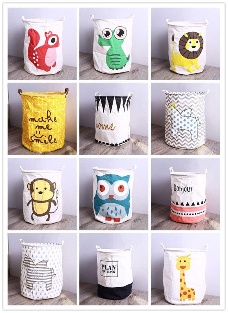 Storage Baskets Bucket Kids Room Toys Clothing Canvas Bags Cartoon Striple Handle Organizer Laundry Bag 40*50cm