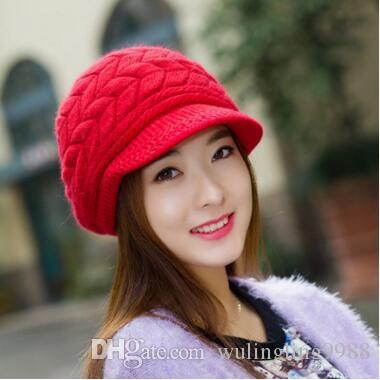 8 Renkler Kadınlar Örme Kap Kış şapka han baskı gelgit kadın sevimli örme şapka Tavşan kürk kap qiu dong gün bayanlar moda şapka