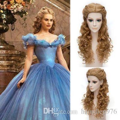 Kostenloser shippingHot Verkauf! Beliebte Cinderella Cosplay Perücke Charmante elegante Flaxen lange lockige Perücke Haar