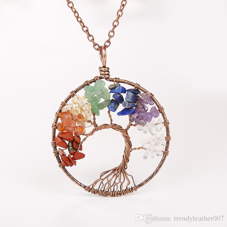 2018 Stylish Natural Gemstone Pendant Necklaces Chakra Jewelry Gravel Beads Round Tree Of Life Winding Reiki Pendant Necklaces For Women