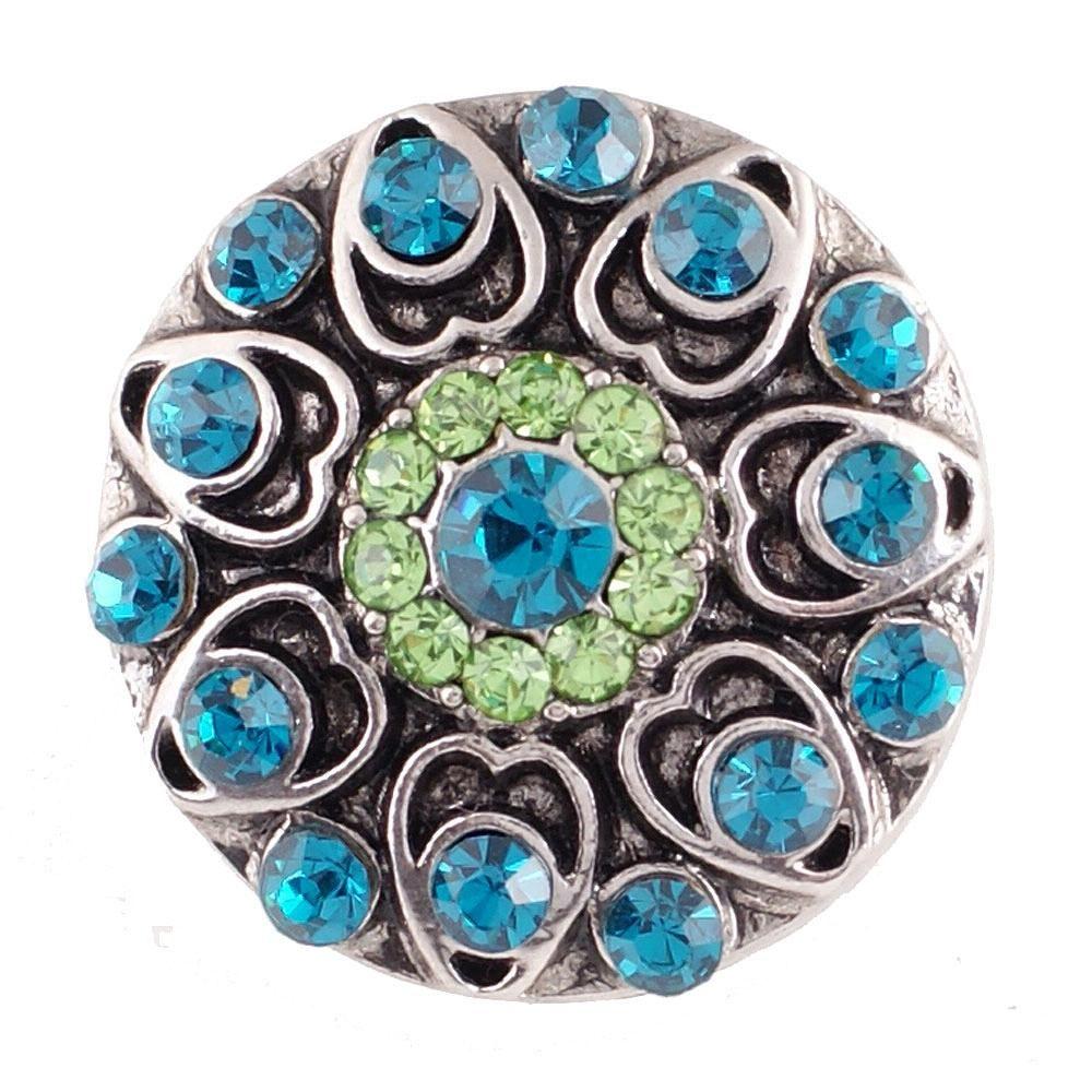 5pcs / lotto dei tasti intercambiabili rotondi Snap gioielli di cristallo 18 millimetri di metallo Snap Button Bracciale Bangle