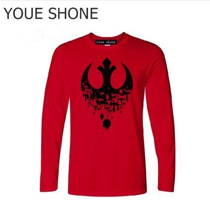 Hombres Fractured Rebellion T-shirt JEDI REBEL maglietta a manica lunga homme Darth Vader maglietta hip hop camisetas Masculino