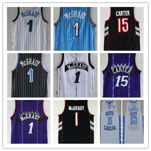 wholesale dealer 45f2b 55133 2018 Retro Ncaa Basketball Jersey 15 Vince Carter Jersey North Carolina  College Carter Jersey White Black Purple Shirt 1 Tracy Mcgrady From ...