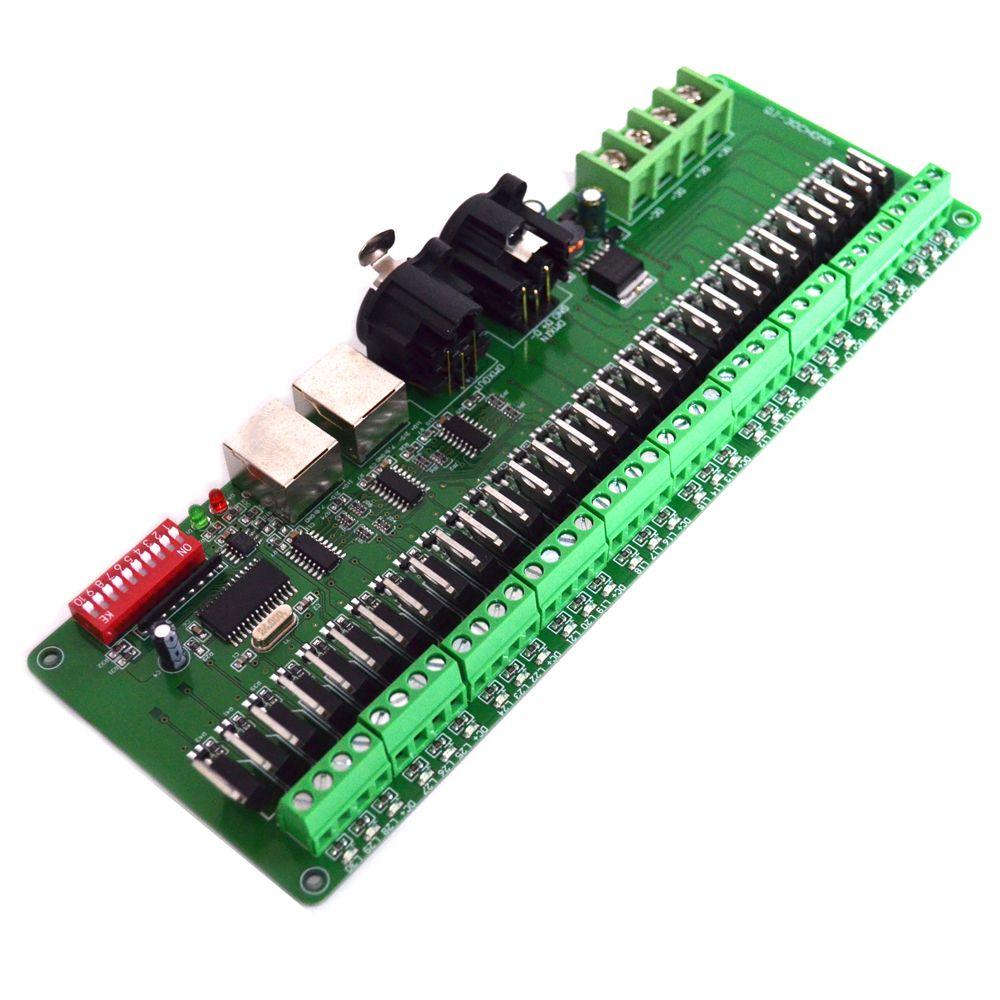 30 canaux DMX RGB LED contrôleur de bande dmx512 décodeur gradateur 12v console