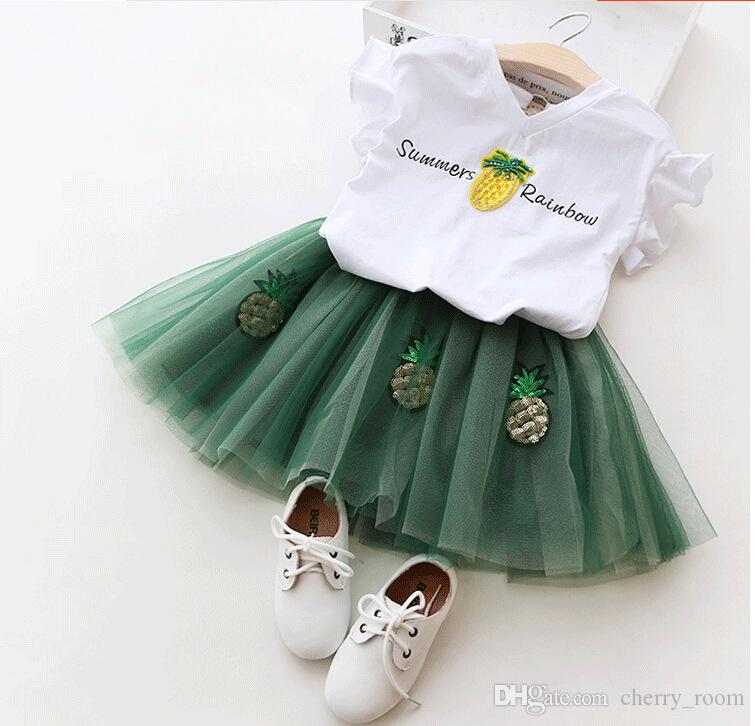 New Summer Princess Clothing Sets Short Sleeve Tops Shirts Pineapple Rainbow + Lace Tutu Skirts 2pcs Suits For Girl Green Pink A8981