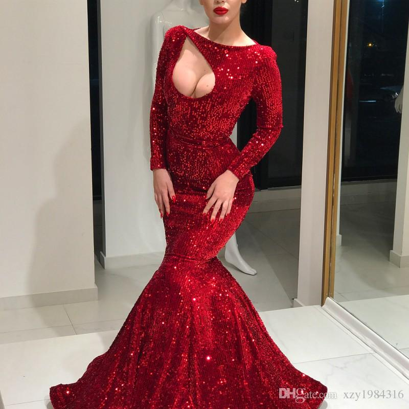 Gorgeous Red Sequined Prom Dresses Sparkly Jewel Neck Long Sleeves Mermaid Party Dresses 2018 Sexy Dubai Saudi Celebrity Evening Gown