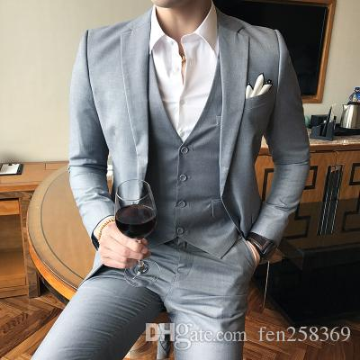 (Tops + Pants + Vests) Men's British Fashion Business Professional Small Suit Young Slim Korean Best Man Groom Wedding Dress