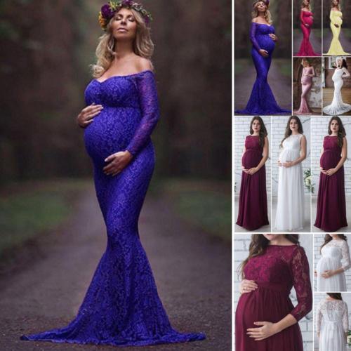 2018 새로운 여름 3 색 여성 임신 출산 레이스 꽃 무늬 롱 드레스 맥시 드레스 사진에 담은 긴 소매 오프 숄더