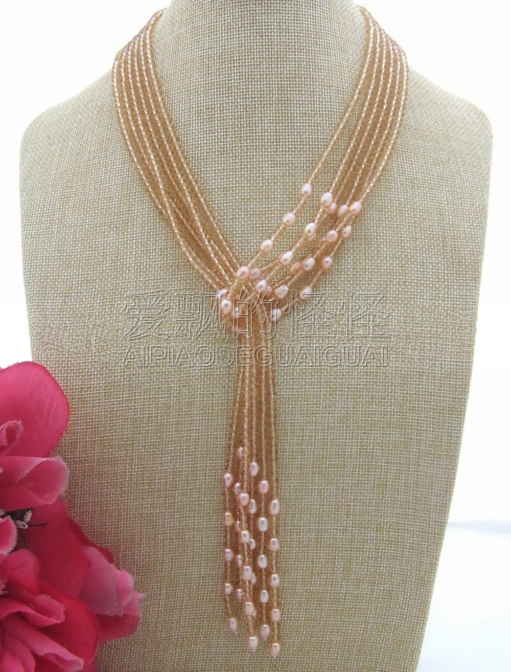 """N032105 51 """"collar de perlas de cristal rosa"""
