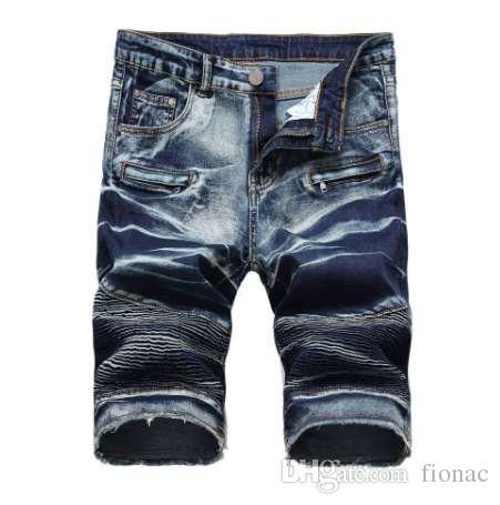 Мужские джинсовые шорты молния морщин мужские джинсы эластичные брюки