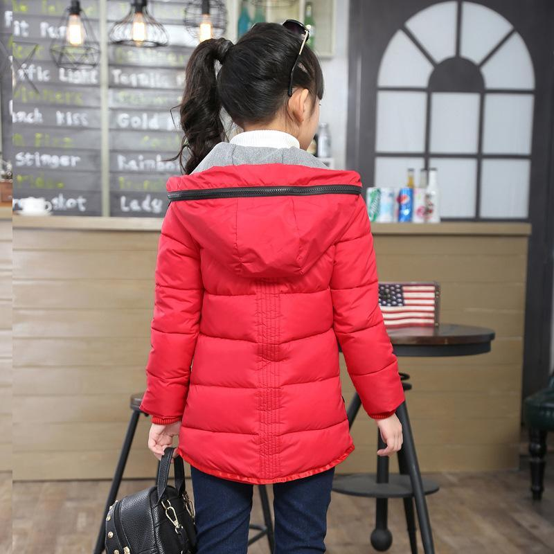 Thick Warm Children Down Coats Cotton-padded Autumn Winter Kids Jacket for Girls Hooded Casual Toddlers Teens Girls Outerwear