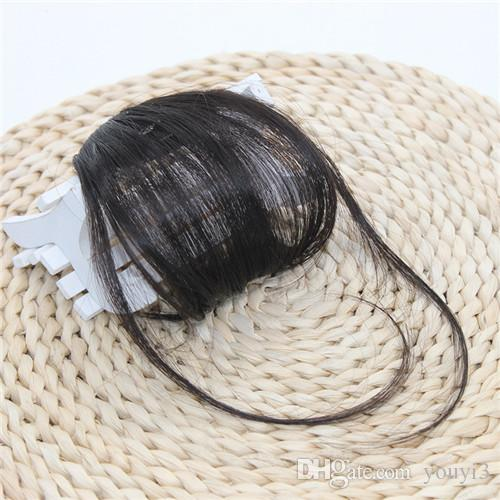 Hair Extensions Bangs Capelli sintetici Bangs senza cuciture Capelli neri castani sui templi
