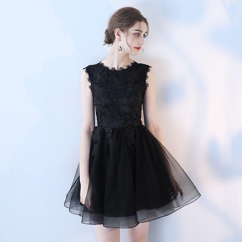Compre Moda Negro Tul Y Encaje Vestido De Novia Corto Cremallera Cuello En O Hasta La Rodilla Apliques Vestido De Bola Sin Mangas Onepiece Vestido De
