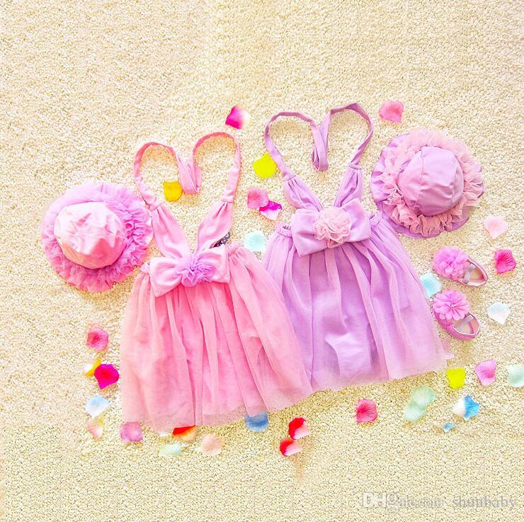 Princess dress Swimsuit for Children Gilrs Big Bow Tie Baby girl Dress One Piece Swimsuit with hat Pink Purple